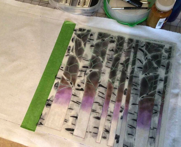 Aspen Tree Stencil showing part one.
