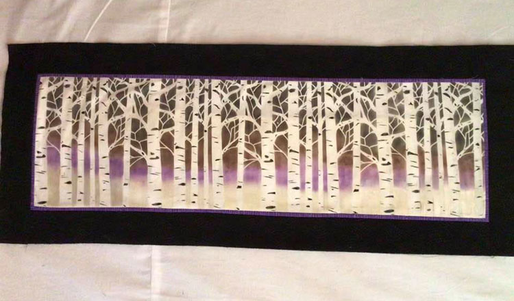 Birch Tree Table Runner Ready for Quilting.